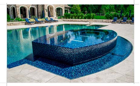 Custom pool with unique spa area