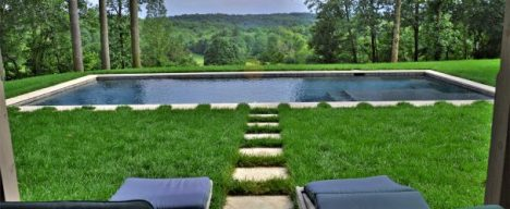 Inground pool with clean landscape