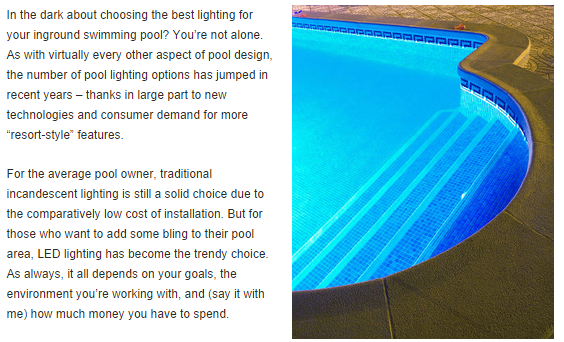 Building of NJ Inground Swimming Pool Requires Skills of Lighting Pros