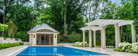 Concreate inground pool with pergola