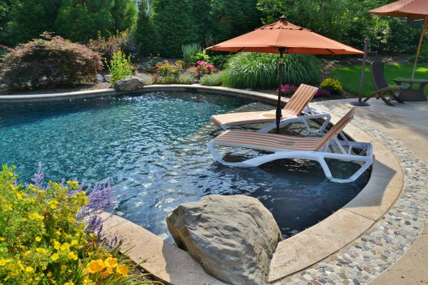 Lounge chairs in custom pool