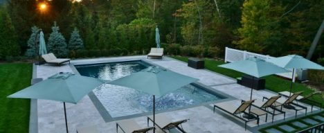 Custom residential pool with patio