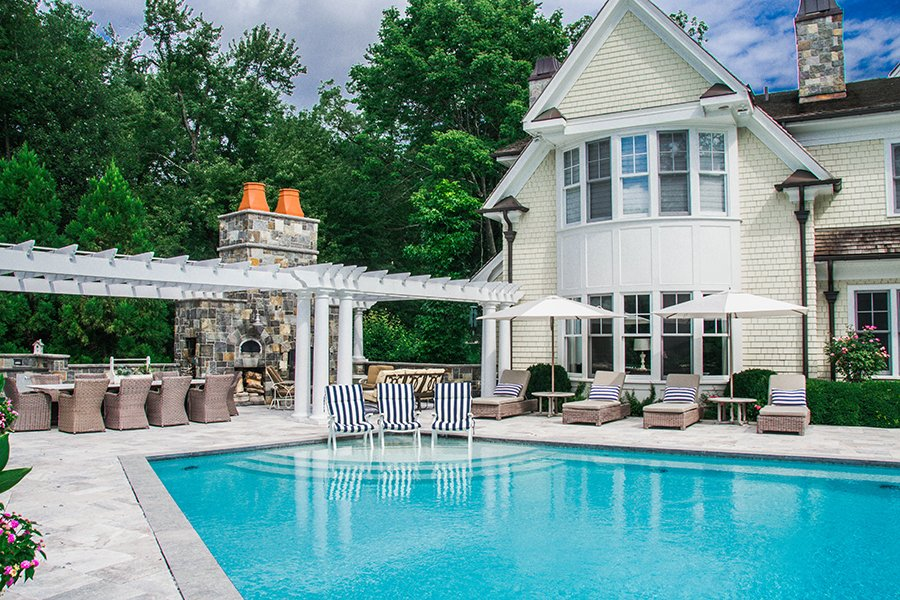 Residential backyard pool and outdoor living space