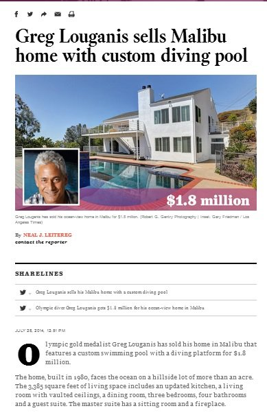 Greg Louganis sells Malibu home with custom diving pool online publication feature
