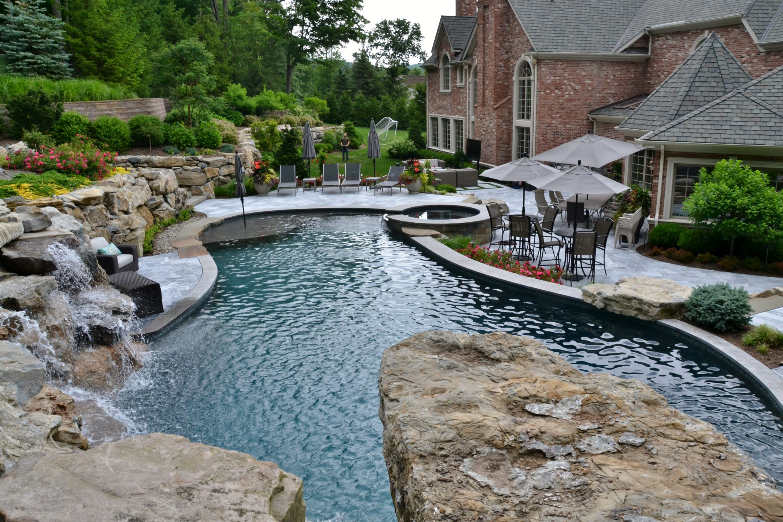 Natural Pools with waterfall and hottub