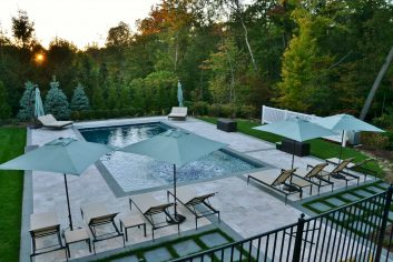 Custom patio design for inground pool