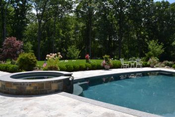 Pool Landscape Design framing pool patio