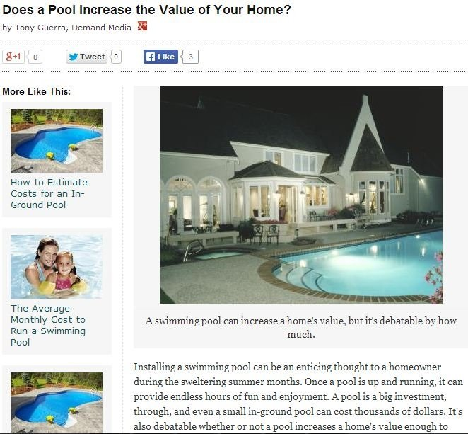 Does a pool increase the value of your home online publication feature