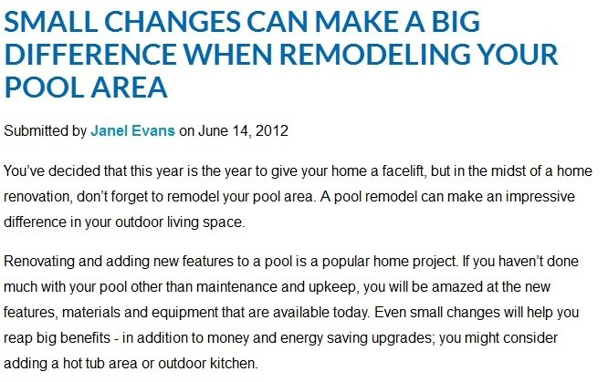 Small changes can make a big difference when remodeling your pool area online publication feature
