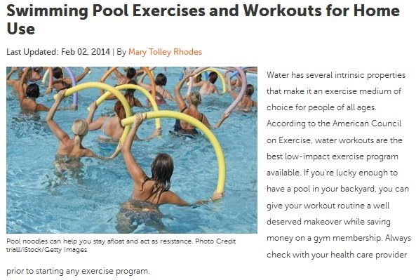 Swimming Pool Exercises online publication feature