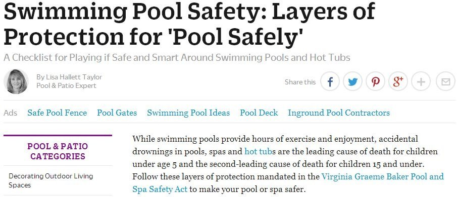 Swimming pool safety online publication feature