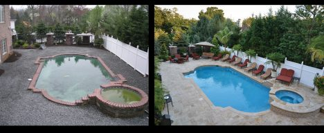 Before and after views of custom pool renovation